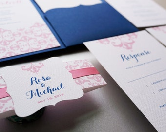 Navy Blue and Pink Wedding Invitation. Elegant Invitation Morden Wedding invitation - Sample