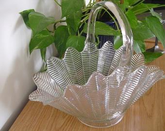 Clear Glass Basket Flower Vase