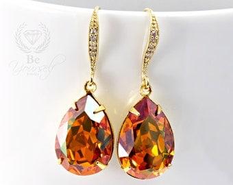 Burnt Orange Bridal Earring Gold Teardrop Bride Earring Swarovski Crystal Copper Wedding Earring Honey Amber Bridesmaid Gift Wedding Jewelry