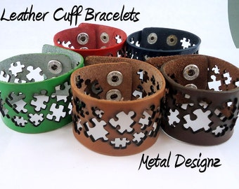 Laser Cut Leather Cuff Bracelet - Puzzle Piece Cut outs - Austim Awareness