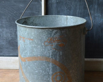 Vintage Galvanized Bucket, Vintage Minnow Bucket, Vintage Galvanized Planter, Vintage Planter, The Anglers Choice Minnow Bucket