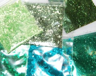 Green Glitter Set, Green and Teal, Solvent Resistant, Glitter, Sampler Set, Green and Teal Glitter, Nail Glitter, Craft Glitter, Green