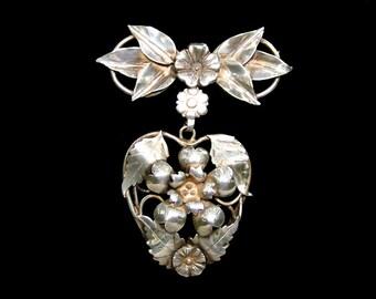 Vintage Sterling Silver Dangle Brooch Heart Flowers