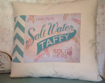 Salt Water Taffy beach house pillow