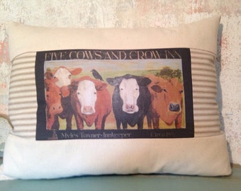 Five Cows and Crow Inn quilted pillow