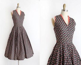 vintage 1950s dress // 50s floral halter dress