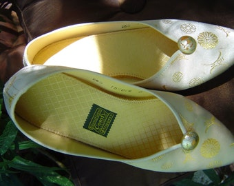 Vintage 60s Daniel Green Comfy slippers gold brocade  size 6 by KitKatCabaret on Etsy