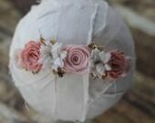 Wildflower Garland Headband in Vintage Pinks and Gold - Newborn Baby to Adult - Wool Felt Flower Headband