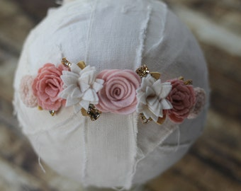 Wildflower Garland Headband in Vintage Pinks and Gold - Newborn Baby to Adult - Wool Felt Flower Headband