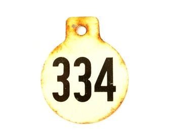 Vintage Metal Cow Tag / Livestock Tag, #334 Double-Sided Numbered Tag in Black and White (c.1950s) - Collectible, Quirky Home Decor, Art