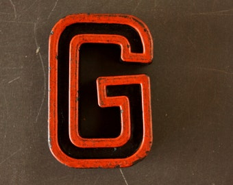 "Vintage Industrial Letter ""G"" Black with Orange and Blue Paint, 2"" tall (c.1940s) - Monogram Display, Shadow Box Letter, Art Supply"