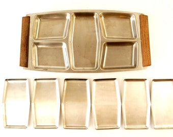Vintage Stainless Steel and Wood Serving Snack Tray Set with 6 Metal Plates (c.1960s) - Mid Century Entertaining