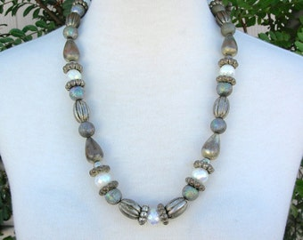 Fancy Brass & Pearlized Faceted White Beads, from Mom's jewelry box