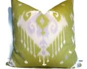 SALE Lime Green Pillow Ikat Decorative Pillow Cover BOTH SIDES Dakota Meadow Pillow