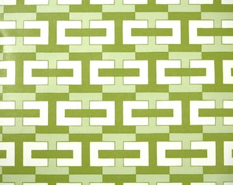 Retro Wallpaper by the Yard 70s Vintage Wallpaper - 1970s Green and White Geometric