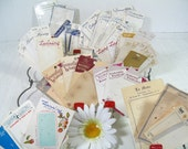 Vintage Buttons Cards Collection of 48 Well Used & Aged Pieces - Old Buttons Holder Cards Ephemera for Mixed Media, Crafts or Scrapbooking
