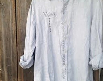 soft gray blue linen eco work wear garden embroidered cook gypsy prairie chef artist potter ooak  farm rustic shirt