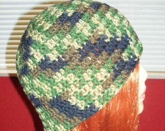 Unisex Crochet Beanie Hat in Camouflage Print - Teen/Adult Medium/Large Hat