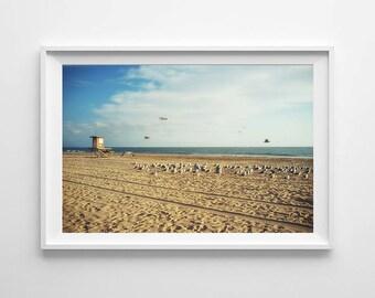 Newport Beach Lifeguard Tower and Seagulls - California Beach House Decor, Ocean Art, Beach Home Decor - Large Art Prints Available