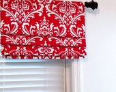 Sample Sale! Ready to Ship! Faux Roman Shade Mock Roman Valance Lipstick Red and White Damask Fabric