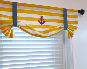 ANCHOR Tie Up Valance Yellow White Blue Custom Sizing Available!