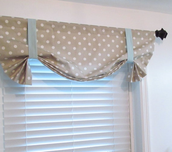 Tie Up Curtain Valance POLKA DOT Blue Taupe White Window Topper ...