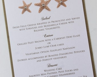 Elegant Starfish Wedding Menu