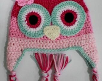 Crochet Girls  Owl hat