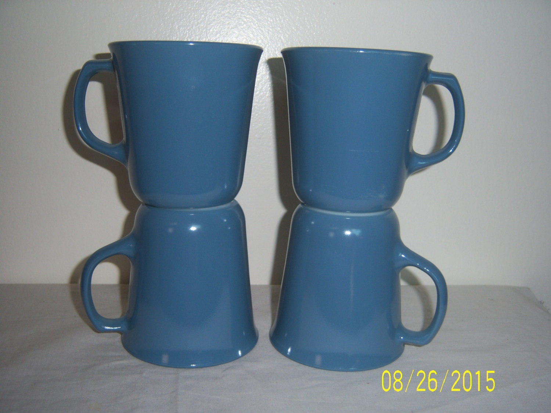 Vintage Pyrex Glass Coffee Mug Set of 4 Retro Mugs Slate