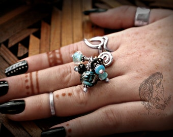 Pet Cremation Glass Bead Lampwork  Ring in Argentium Sterling Silver,  SAMPLE PHOTO