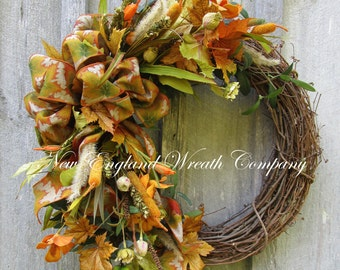 Fall Wreath, Autumn Wreaths, Fall Floral, Thanksgiving, Harvest, Designer Wreath, Elegant Fall Wreath, Fall Garden