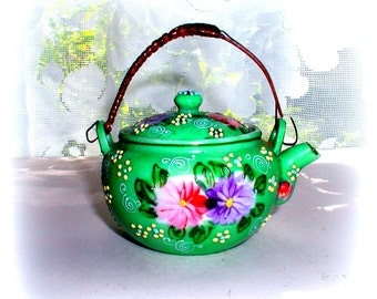 Handpainted Japanese Moriage Miniature Teapot Unmarked Old Nippon Beaded Ware Vintage Asian Tea Collectible