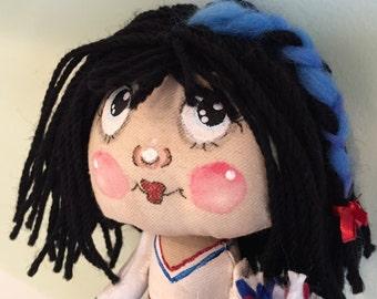 SWEETIE PIE Cheerleader Art Doll Hand Painted Handmade