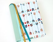 Bible Cover - Book Sleeve - ESV Journaling Bible Single and Double Column - NIV -  Multicolor Arrows with Seafoam Vinyl