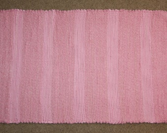 Handwoven Rag Rug - Subtle Striped Cotton Candy Pink Chenille - Soft & Pretty - 40 inches....(#103)