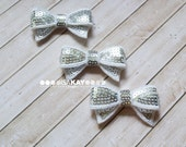 Silver Sequin Bows - Adorable bows with reflective sequins for hairbands or shoeclips - Lots of sparkly bling!
