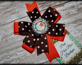 Pumpkin Patch Hairbow, fall Hair Bow, Orange and brown Hair Bow, Pumpkin Hairbow, pumpkin bow , Pick of the Patch Hair Bow