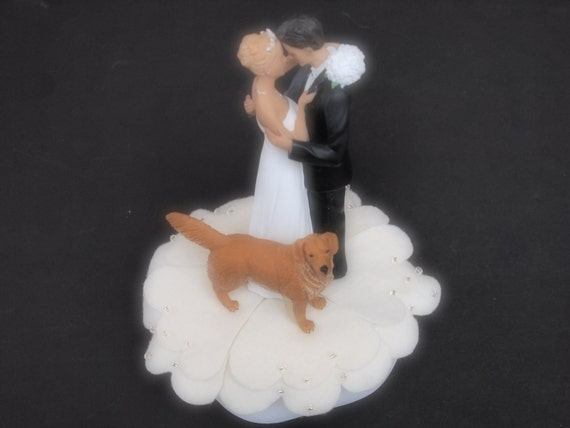 Cake Topper Wedding Ivory Bride Groom Golden Retriever Dog