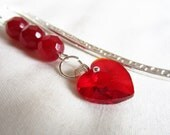 Genuine Red Ruby & Ruby red crystal heart charm on a bright silver plated bookmark with scroll pattern ~130