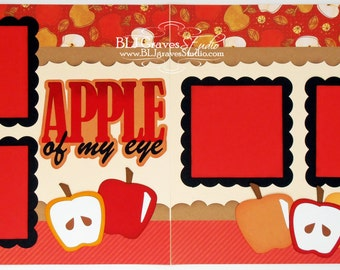 Premade Scrapbook Page Layout Paper Piecing Apple of My Eye Boy Girl Baby 12x12 Handmade 7P