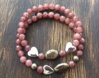 Dusty Rose Bracelet Set // Jewelry
