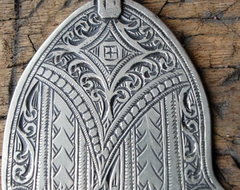 Wide Moroccan  hand engraved Hand  pendant (F)