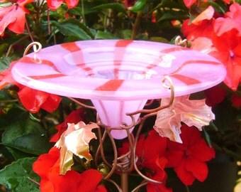 Home and Garden, Bird Feeder,  BUTTERFLY FEEDER, glass, copper, Spiral Stripe, Pink, Red
