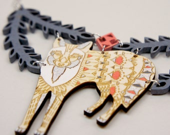 Fox and Branches Statement Necklace