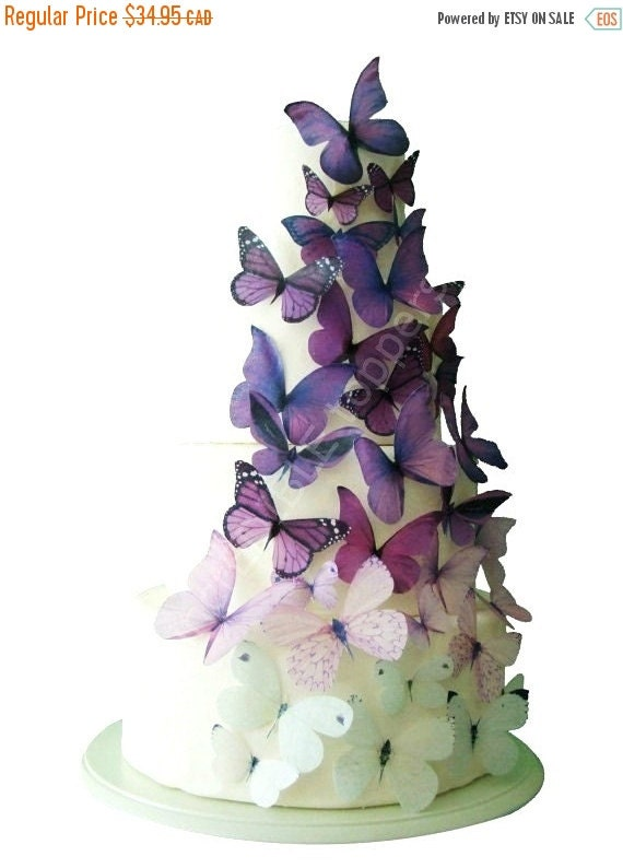 Cake Topper Sale Cupcakes Wedding CAKE TOPPER - Edible Cake Topper, Ombre Edible Butterflies in Purple, Butterfly Cake, Cake Decorations, Ca
