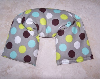 Neck & Shoulder Wrap  Pillow, Flax seed pillow - Heating Pad Ice Pack-Flax seed therapy pillow in splendid dots on grey