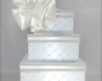 Dramatic Quilted Diamonds Wedding Card Box Wedding Card Holder Wedding Card Box Gift Card Box Secure Lock Reception Envelopes Decoration