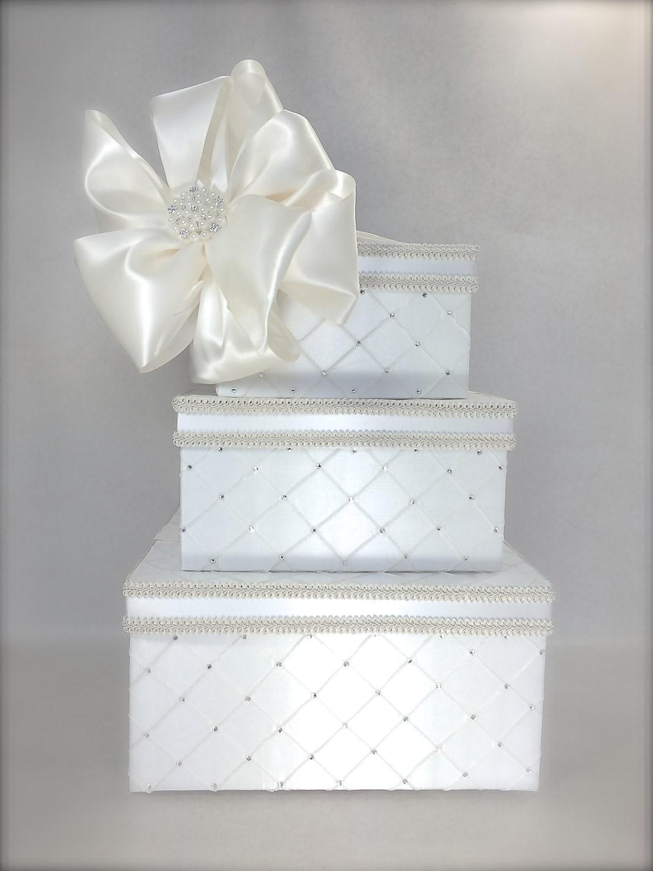 Dramatic Quilted Diamonds Wedding Card Box Wedding Card Holder – Wedding Reception Gift Card Box