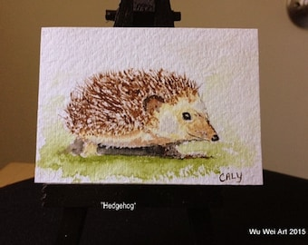 Watercolor ACEO of a Hedgehog