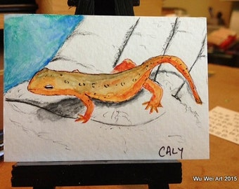 Watercolor ACEO - Newt